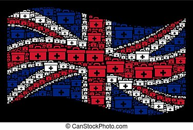 Waving British Flag Mosaic of First Aid Toolbox Items