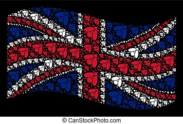 Waving British Flag Mosaic of Fly Insect Items