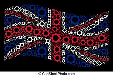 Waving British Flag Mosaic of Gear Icons