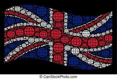 Waving British Flag Mosaic of Globe Icons