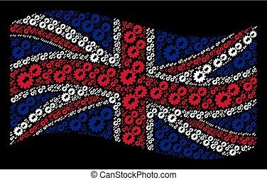 Waving British Flag Mosaic of Integration Icons