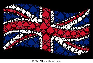 Waving British Flag Mosaic of Peaks Suit Icons