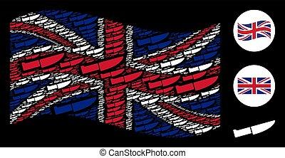 Waving British Flag Mosaic of Surgery Knife Icons