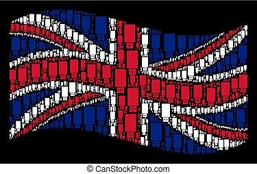 Waving British Flag Mosaic of USB Flash Drive Icons
