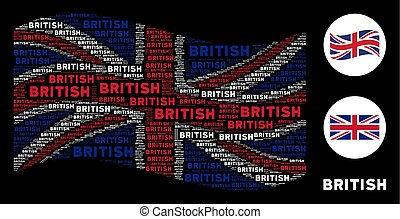 Waving British Flag Pattern of British Text Items