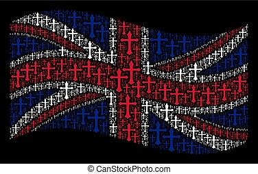 Waving British Flag Pattern of Christian Cross Icons