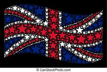 Waving British Flag Pattern of Five Pointed Star Items