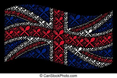 Waving British Flag Pattern of Fork And Spoon Items