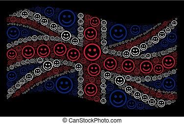 Waving British Flag Pattern of Glad Smiley Items