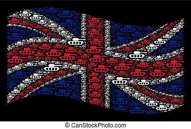 Waving British Flag Pattern of Military Tank Items