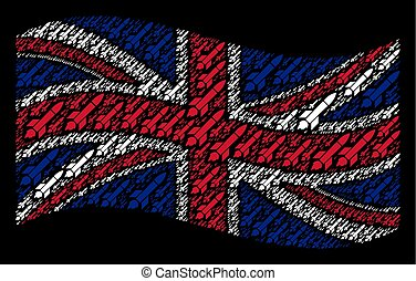 Waving British Flag Pattern of Missile Launch Icons