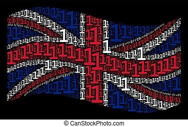 Waving British Flag Pattern of One Digit Items