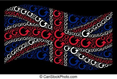 Waving British Flag Pattern of Rotate Icons