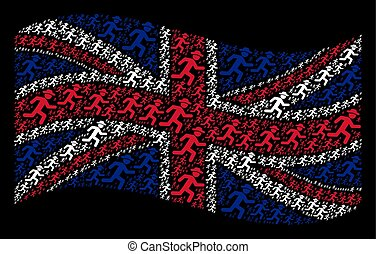 Waving British Flag Pattern of Running Gentleman Items