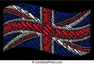 Waving British Flag Pattern of Screwdriver Items