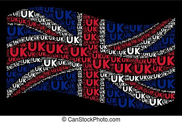 Waving British Flag Pattern of UK Text Items