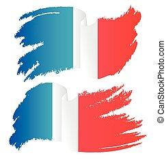Waving Brush Stroke Flag of France