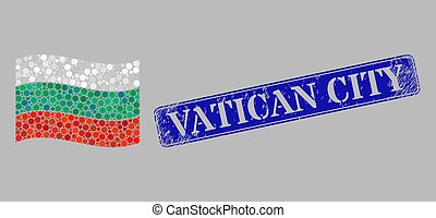 Waving Bulgaria Flag Collage of Round Points and Grunge Vatican City Stamp