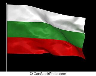 Waving Bulgarian flag isolated over black background