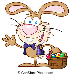Waving Bunny With Easter Eggs