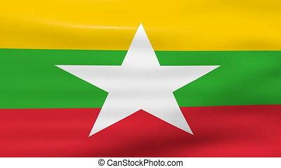Waving Burma Flag, ready for seamless loop.