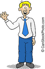 waving business man - vector illustration of a cartoon...
