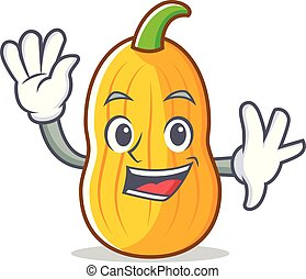 Waving butternut squash character cartoon vector...