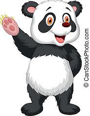 waving,  CÙte, caricatura,  Panda, mão
