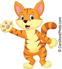 waving,  CÙte, gato, caricatura, mão