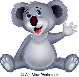 waving,  CÙte,  Koala, caricatura, mão