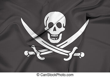 Waving Calico Jack Pirate Flag