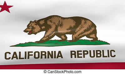 Waving California State Flag