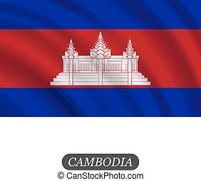 Waving Cambodia flag on a white background. Vector illustration