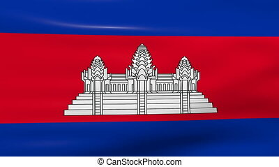 Waving Cambodia Flag, ready for seamless loop.