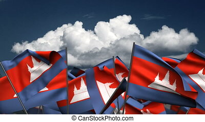 Waving Cambodia Flags (seamless & alpha channel)