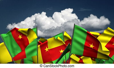 Waving Cameroon Flags (seamless & alpha channel)