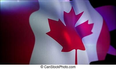"""Waving Canadian Banner in Black Background"" - ""3d rendering..."
