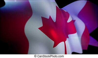 """Waving Canadian Flag in Black Backdrop"""
