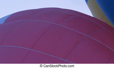 Waving canvas of hot air balloon - Close up shot - waving...