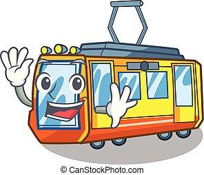 waving, caricatura, trem, elétrico, isolado