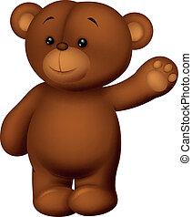 waving, caricatura, urso, mão