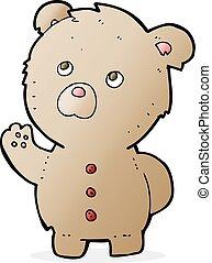 waving, caricatura, urso, pelúcia