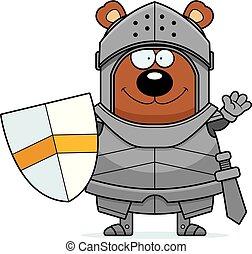 Waving Cartoon Bear Knight
