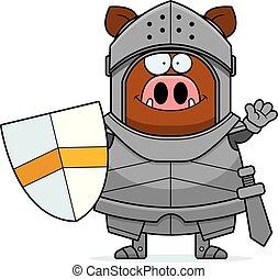 Waving Cartoon Boar Knight