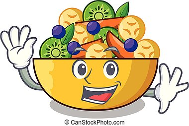 Waving cartoon bowl healthy fresh fruit salad