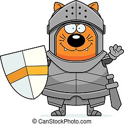 Waving Cartoon Cat Knight