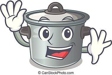 Waving cartoon cookware stock pot in kitchen vector...