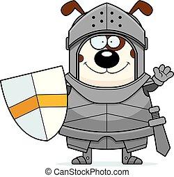 Waving Cartoon Dog Knight