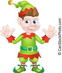 Waving Cartoon Elf