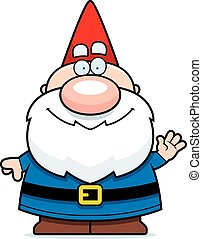 Waving Cartoon Gnome